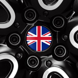 Union Jack flag doming decal for Mini hubcaps