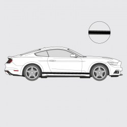 Stickers voiture Ford Mustang bande simple liseret double latéral