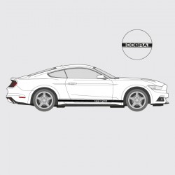 Stickers voiture Ford Mustang bande simple liseret double latéral logo Cobra