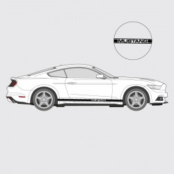 Stickers voiture Ford Mustang bande simple liseret double latéral logo Mustang