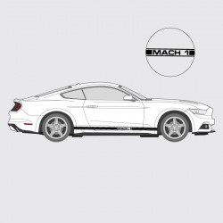 Stickers voiture Ford Mustang bande simple liseret double latéral logo Mach 1