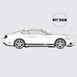 Stickers voiture Ford Mustang GT 500 bande simple liseret double logo latéral