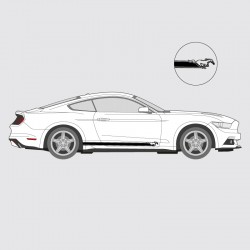 Stickers voiture Ford Mustang cheval bande simple liseret double logo latéral