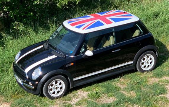 Mini cooper semi-covering decals english flag roof